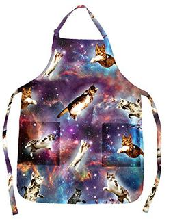 Funny Guy Mugs Space Cat Adjustable Apron with Pockets - Fun