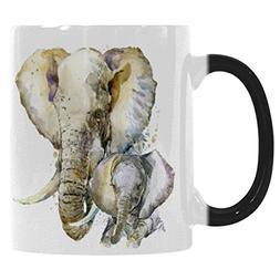InterestPrint 11oz Splash Watercolor Animal Elephant Heat Se