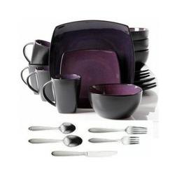 Square Dinnerware Service for 8, Plates Bowls Mugs Flatware