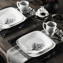 Corelle Square Timber Shadows 16-Piece Dinnerware