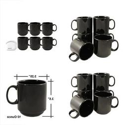 Stackable Ceramic Diner Coffee and Tea Mugs with Pan Scraper