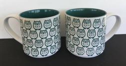 Graydon Hall Stackable Owl Mugs Green & White Set of 2 Coffe