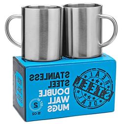 Stainless Steel Double Walled Mugs: 100% BPA Free,15 oz Meta