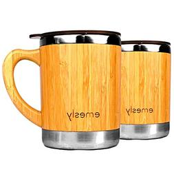 Stainless Steel Bamboo Coffee Mugs with Handle & Spill Resis