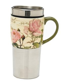 A Ting Stainless Steel Car Mug Coffee Cup Ceramic Handle Flo