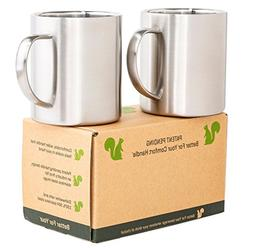 Stainless Steel Coffee Mugs - Comfortable Oval Handle Double