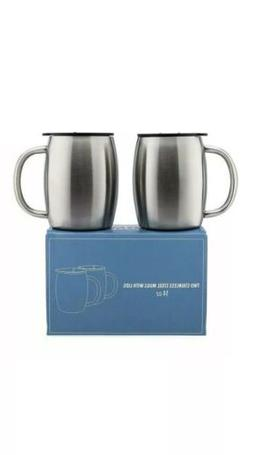 Stainless Steel Coffee Mugs with Lids - 14 Oz Double Walled