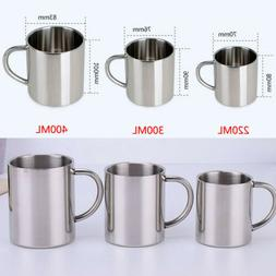 Stainless Steel Coffee Tea Mug Cup Camping/Travel Outdoor Dr
