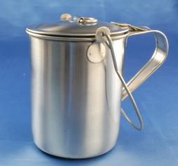 Stainless steel cup with lid and bail