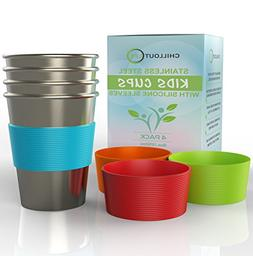 Stainless Steel Cups for Kids and Toddlers 8 oz. with Silico