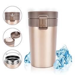 Stainless Steel Insulated Travel Coffee Mug, Rainbrace Doubl