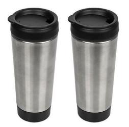 Stainless-Steel Travel Mug with Push Lids, 14 oz.  Insulated