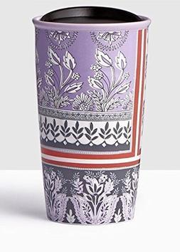 Starbucks Floral Print Double Wall Traveler Coffee Mug Tumbl