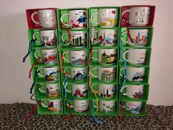 """Starbucks Ornament  mugs, """"You Are Here"""" collection, 2oz - D"""