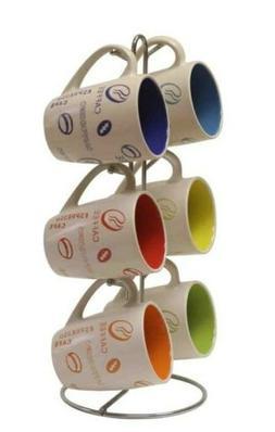 Stoneware Coffee Motif Mug Set with Chrome Mug Stand Dishwas