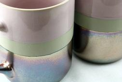 Roscher Stoneware Coffee Mugs Lavender / Pink Metallic Coppe