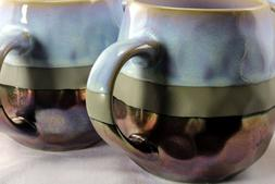 Roscher Stoneware Coffee Mugs Periwinkle Blue Metallic Coppe