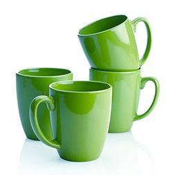 Corelle Stoneware Green Mugs, 11 Oz, White