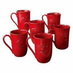 Farmhouse Stoneware Mugs with Antique Finish, set of 6 Red
