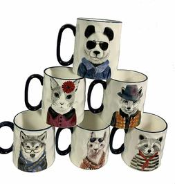 Signature Stoneware Set of 6 Animal Hipster 14 oz Coffee Mug