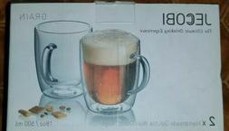 JECOBI Strong Clear Glass Double Wall Coffee Mug Tea Mug Esp