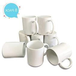Bosstop 8PCS 11OZ Sublimation Mug Coated Ceramic Mugs White