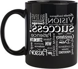 success ceramic coffee mug black ounces one sided white prin