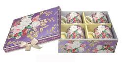 Summer River Elegant FOUR Bone China Mugs Cups Lavender Rose