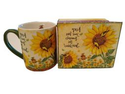 "Sunflowers Birds feeder Lang 14 oz Mug ""Keep your face towar"