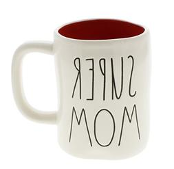 Rae Dunn by Magenta SUPER MOM Ceramic LL Coffee Mug Red Inte