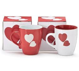 Sweetheart Valentine Love Mug Shiny Red & White Ceramic Hear