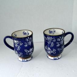 Tara McConnell Temptations Floral Lace Set Of 2 Blue Coffee