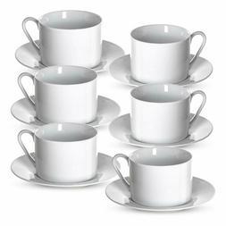 Klikel Tea Cups And Saucers Set | 6 Piece White Coffee Mug S
