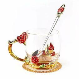 ONEPENG Tea Cups with Spoon Glass Coffee Mugs Enamel Handmad