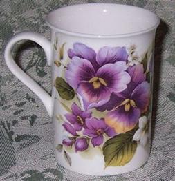 Tea or Coffee Mug 10 oz. Purple Pansy Pattern, Fine Bone Chi