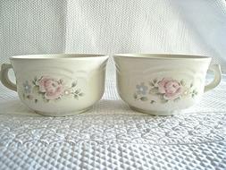 "Pfaltzgraff Tea rose Soup Mug USA Handle Pink Flowers 4 3/4"""