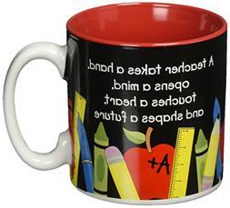 #1 Teacher 13 oz Coffee Mug with Pencil, Rulers, Crayons, an