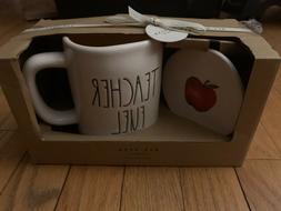 Rae Dunn Teacher Fuel Mug and Coaster Set NEW