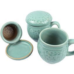 Set of 2, Porcelain Tea Cup with Infuser and Lit Set - Korea