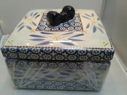 Temp-tations Old World Blue Square Casserole Dish with Lid 4