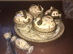 TEMP-TATIONS OVENWARE OLD WORLD BROWN COW BOWLS WITH TRAY NE