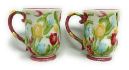 Temp-tations S/2 Figural Floral Dinnerware Mug, Cafe Coffee
