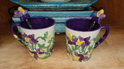 Temptations Bakeware Set Of 2 Violet Mugs With Spoons