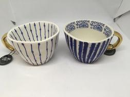 The Old Pottery Company Set Of 2 Mugs Blue And White. Gold H