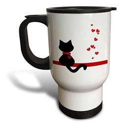 "3dRose tm_164791_1"" Pet Lovers Red Hearts Black Kitty Cat"" T"