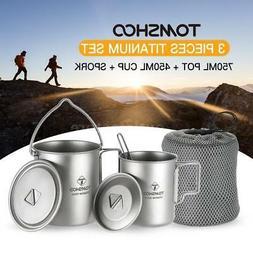 TOMSHOO Titanium 3 Pieces Camping Cookware Pot++Folding Spor