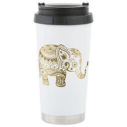 CafePress - Gold Tones Cute Tribal Elephant Illustration - S