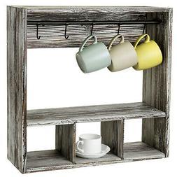 MyGift Torched Wood Wall Mounted Coffee Mug Cup Display Rack