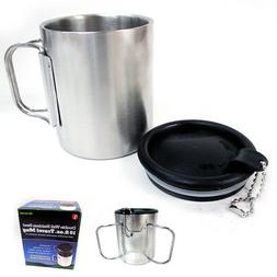 Travel Coffee Mug Stainless Steel Lid Tea Drink Tea Cup Hand