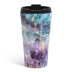 Society6 Turquoise & Purple Quartz Crystal Metal Travel Mug